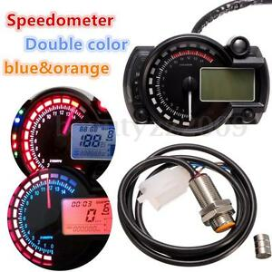 15000RPM LCD Digital Motorcycle Universal Tachometer Speedometer Odometer Gauge