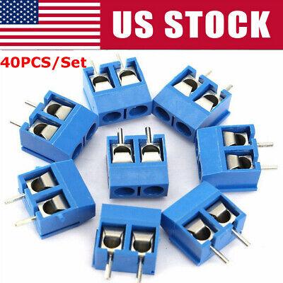 40pcs 2-pin Screw Terminal Block Connector 5.08mm Pitch Panel Pcb Mount Diy
