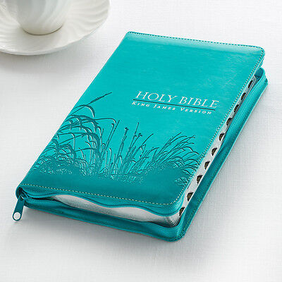 KJV HOLY BIBLE KING JAMES VERSION AQUA THUMB INDEX ZIPPERED RED LETTER