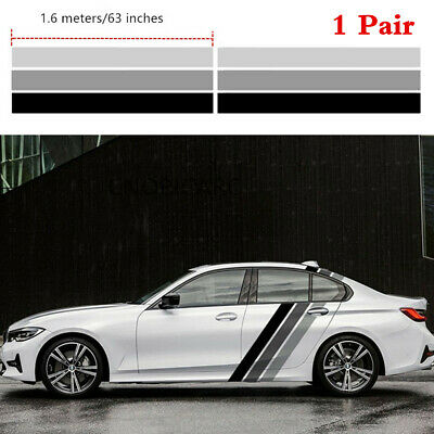 1 Pair 160x52cm Tricolor Stripes Graphics Car Body Side Vinyl Decals Stickers