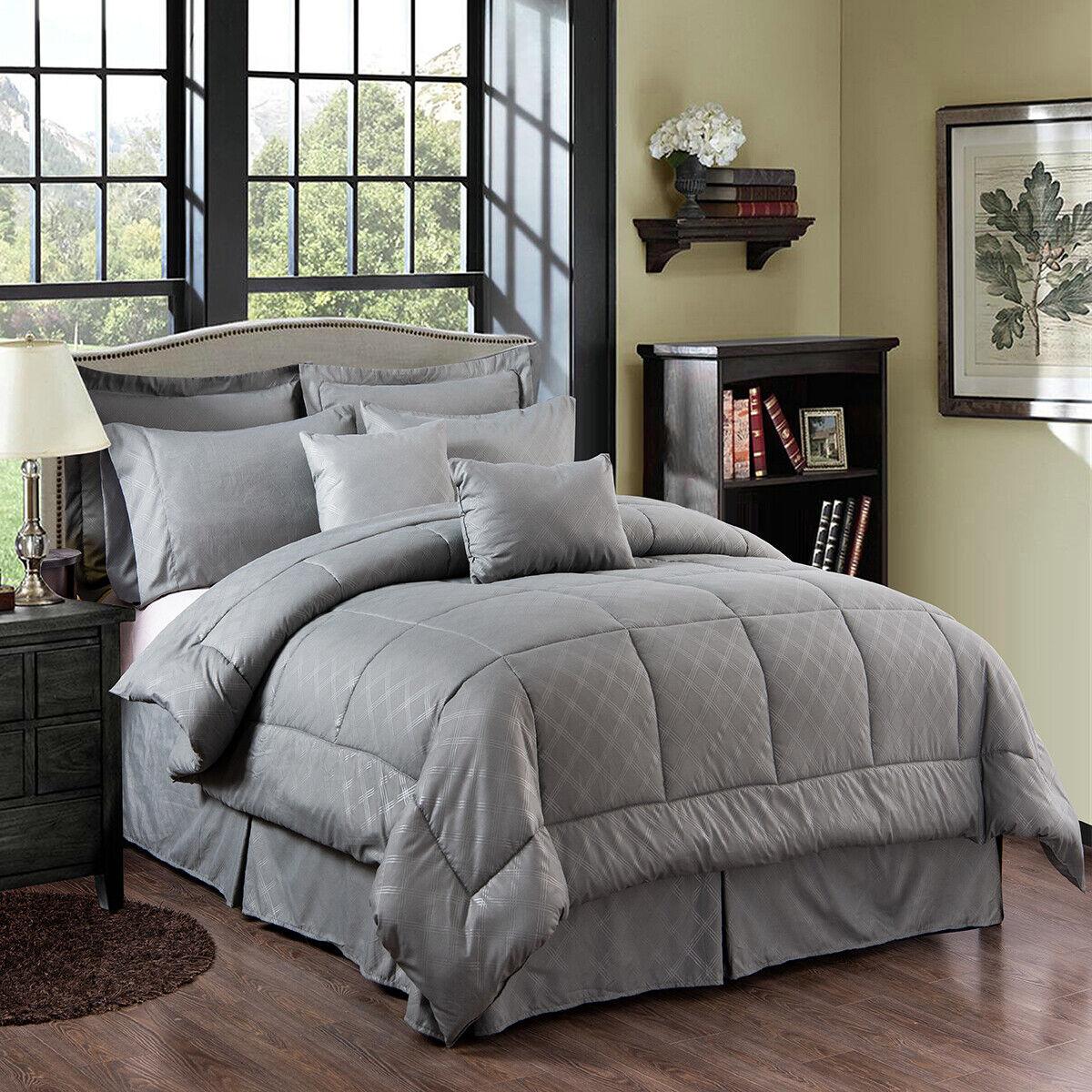 10 Piece Comforter Set Bedding W/Sheet Set Decorative Pillows Shams