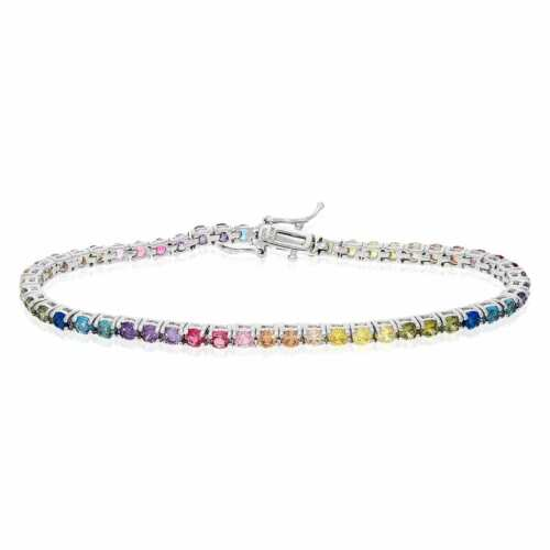 "925 Sterling Silver 3mm Multicolor Rainbow CZ Tennis Bracelet 7.25"""