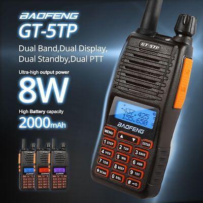 Baofeng GT-5TP 8W HP Dual PTT Dual Band VHF UHF Ham Two-way Radio Walkie Talkie