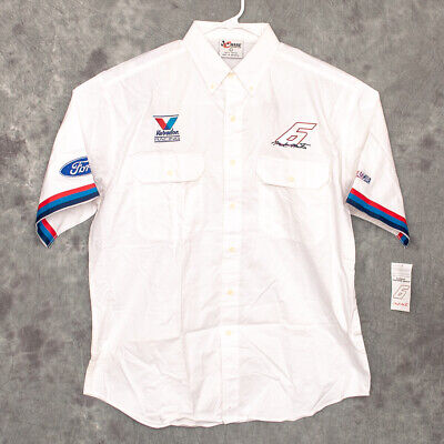 #6 Mark Martin Mens Button Down Shirt Size L Valvoline Ford Chase White NWT for sale  Shipping to Canada