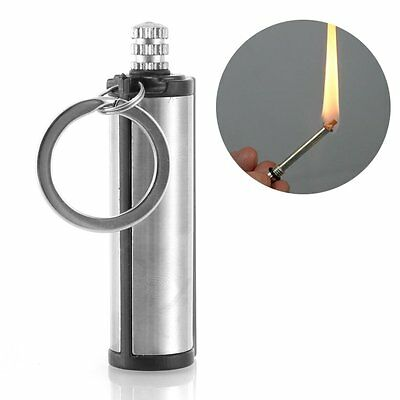Water Match Flint Fire Lighter Kerosene Oil Gas Keychain Camping Survival Tool