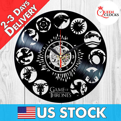 Game of Thrones Clans HBO Logo Vinyl Record Wall Clock Home Room Decor Best