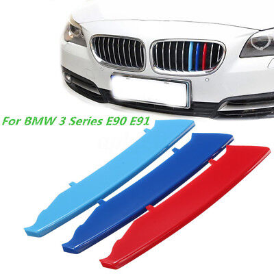 M Color Kidney Grill Bar Decal Strip Cover Clip For BMW 3 Series E90 E91 04-08