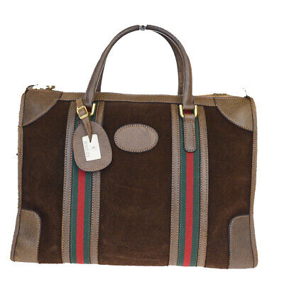 Authentic GUCCI GG Logos Shelly Hand Bag Suede Leather Brown Italy 66MA280