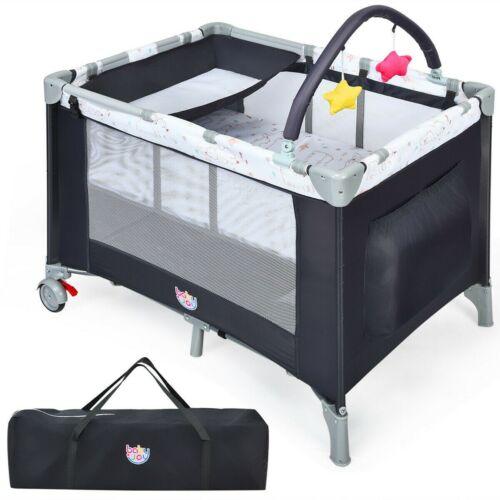 Baby Bassinet Crib Newborn Portable Bed Sleeper Travel With Bag Gray Adjustable