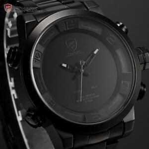 SHARK Military Black Digital Analog Dual Time LED Date Alarm Men's Sport Watch