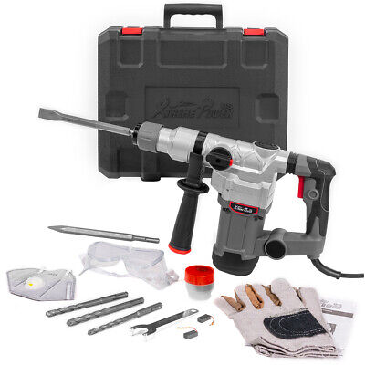 1200w Electric Rotary Hammer 1 Sds Plus Flat Bits Drill Chisel Set With Case