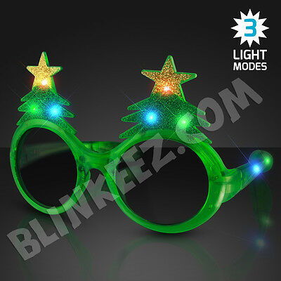 Tree Light Up Flashing LED Blinking Sunglasses - Holiday Fun