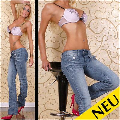 NEU 🌸 Sexy Low Cut JEANS Used BLEACHED Denim Light Blue Stitchery🌸 32 34 36 38 Denim Light Blue Jeans