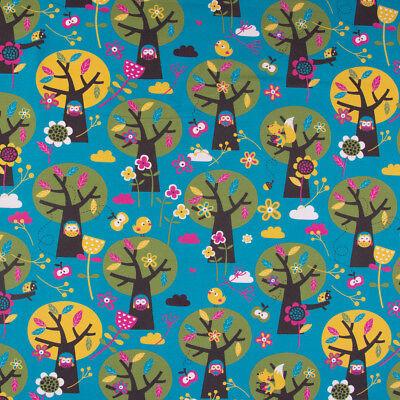 Lillestoff Bio Jersey organic Appletree Eule türkis grün pink braun 1,5m - Apple Kostüm Kinder