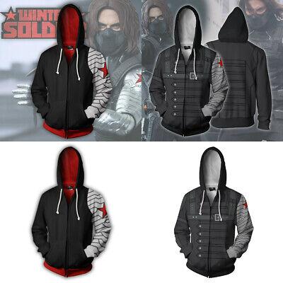 Avenger Bucky Winter Soldier Hoodie Zipper Sweatshirt Cosplay Costume Coat Tops
