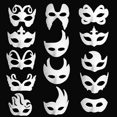 14 X DIY White Blank Paper Party Mask Women Men Face Masks Decor Gift Halloween