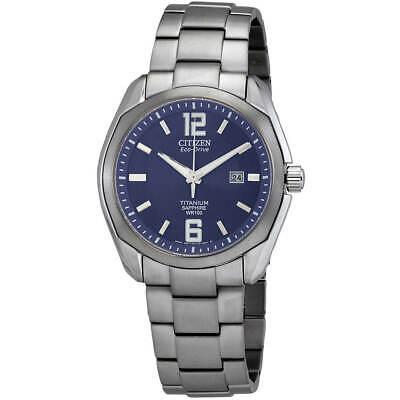 Citizen Men's Watch Chandler Eco-Drive Blue Dial Titanium Bracelet BM7080-54L