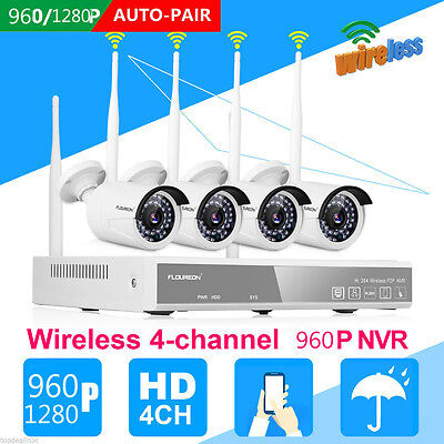 Hot 4Pcs Hd 960P Wifi Wireless Ip Camera System 4Ch Nvr Outdoor Home Video