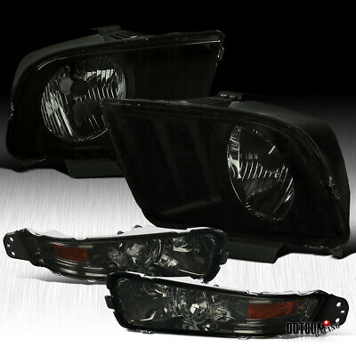 For 2005-2009 Ford Mustang Euro Smoke Driving Headlights+Signal Bumper Lamps