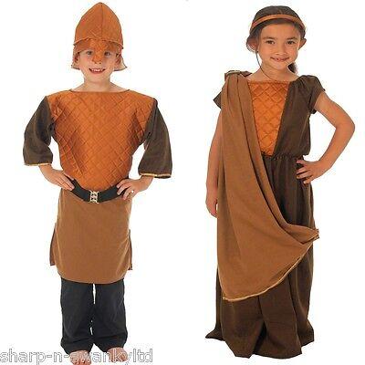 Mädchen Wikinger Kostüm (Jungen Mädchen Nordic Wikinger Historisch Schulbuch Tag Kostüm Kleid Outfit)