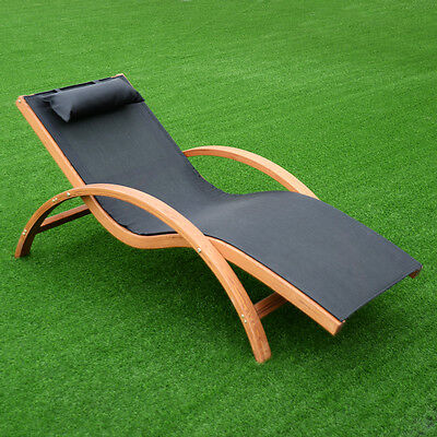 Lounge Chair Larch Wood Beach Yard Patio Camping Lounger W/ Headrest NEW