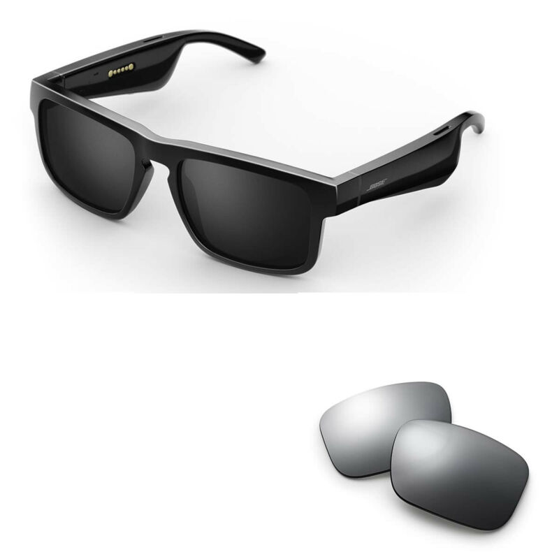 Bose Tenor Rectangular Bluetooth Audio Sunglass Frames with Replacement Lense
