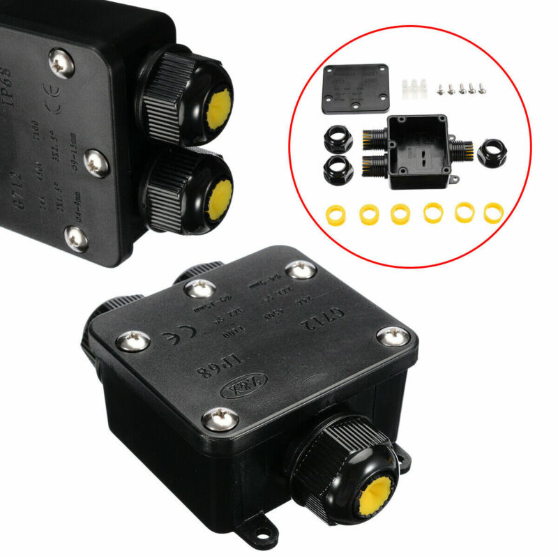 3-Way IP68 Waterproof Junction Terminal Box Distribution Cable Connector Set GT#