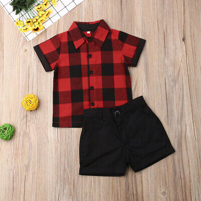 Summer Toddler Baby Kids Boy Shirt Tops+Pants Gentleman Outfits Clothes 2PCS Set