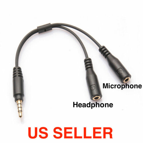 3.5mm Stereo Audio Male To 2 Female Headphone Mic Y Splitter Cable Cord Adapter