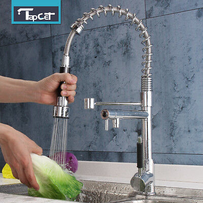 Tapcet Kitchen Swivel Spout Single Handle Sink Faucet Pull Down Spray Mixer Tap