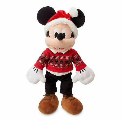 (New Disney store Mickey Mouse Holiday Plush Toy Doll 16