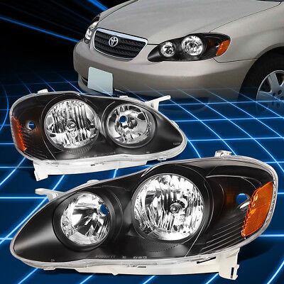 EURO BLACK HOUSING HEADLIGHT+AMBER REFLECTOR JDM LIGHT/LAMP FOR 03-08 COROLLA