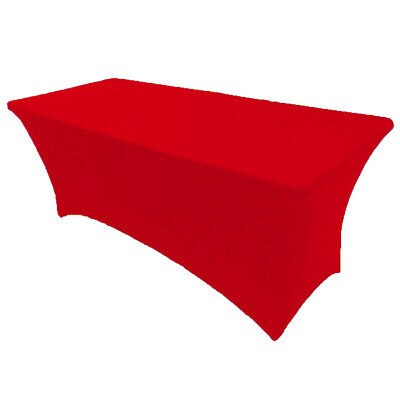 8' ft. Spandex Fitted Stretch Tablecloth Table Cover Wedding Banquet Red