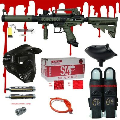 Tippmann Tactical Paintballs - Tippmann CRONUS TACTICAL .68 CAL Paintball Gun Kit - READY PLAY BLOOD PACKAGE