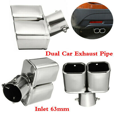 Anti-corrosive Stainless Steel Bent Dual Exhaust Pipe Car End Tail Tip Muffler