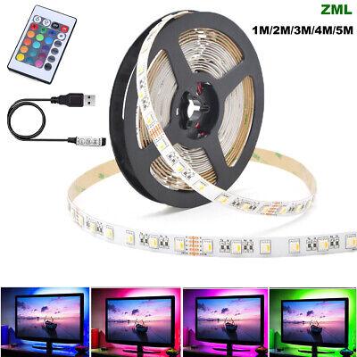 LED Strip Lights 0.5/1/2/3/4/5m 5V 5050 RGB Dimmable USB TV Back Lighting+Remote