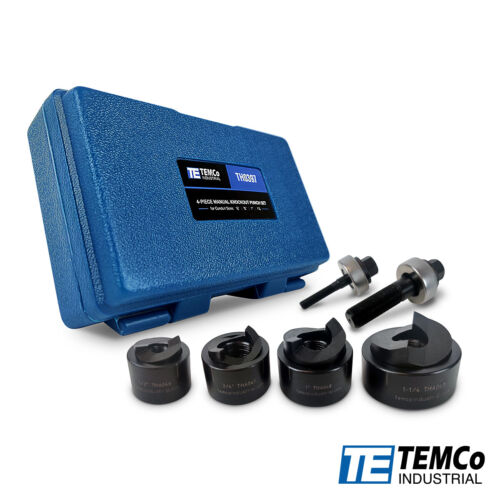 """TEMCo TH0397 Manual knockout Punch Kit ½"""" - 1-1/4"""" Electrical Conduit Hole sizes"""
