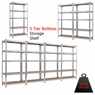 "72"" Heavy Duty Storage Shelf Steel Metal Garage Rack 5 Level"