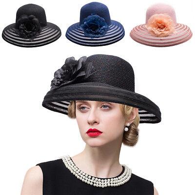 Glitter Womens Kentucky Derby Wide Brim Hat Polyester Wedding Church Hats A482](Glitter Bowler Hats)