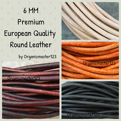 Premium Genuine Round Leather Cord 6mm By The Yard DIY Craft Jewelry Supplies Real Leather Jewelry Cord