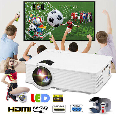 Mini 5000 Lumen LED 1080P Projector HDMI/USB/TV/VGA/AV Home Cinema Multimedia UK
