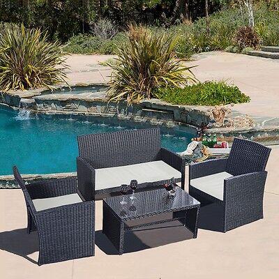 Garden Furniture - 4 PCS Rattan Patio Furniture Set Garden Lawn Sofa Black Wicker Cushioned Seat