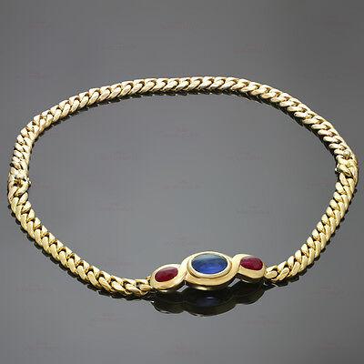 Authentic 1980s BULGARI Sapphire Ruby Gold Interchangeable Bracelet Necklace