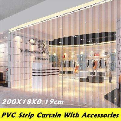 Freezer Room PVC Plastic Strip Curtain Door Strip Kit Hanging Rail 200*18*0.19cm](Door Plastic Curtains)