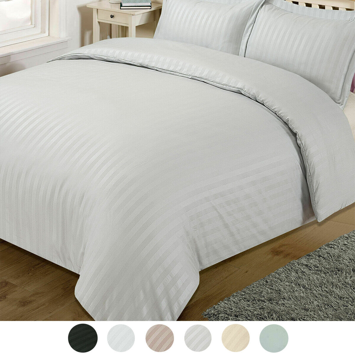 Striped Satin Duvet Cover Quilt Bedding Set With Pillowcases Single Double King Ebay