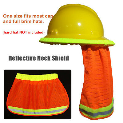 Safety Hard Hat Neck Shield Helmet Sun Shade Hi Vis Reflective Stripe Orange