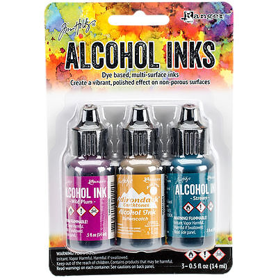 Tim Holtz Alcohol Ink .5oz 3/Pkg Nature Walk-Wild Plum/Buttrscotch/Stream #11