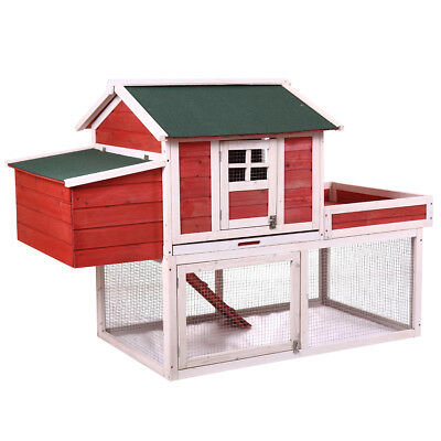 """65"""" Deluxe Poultry Cage Wooden Rabbit Hutch Chicken Coop Hen House Backyard"""