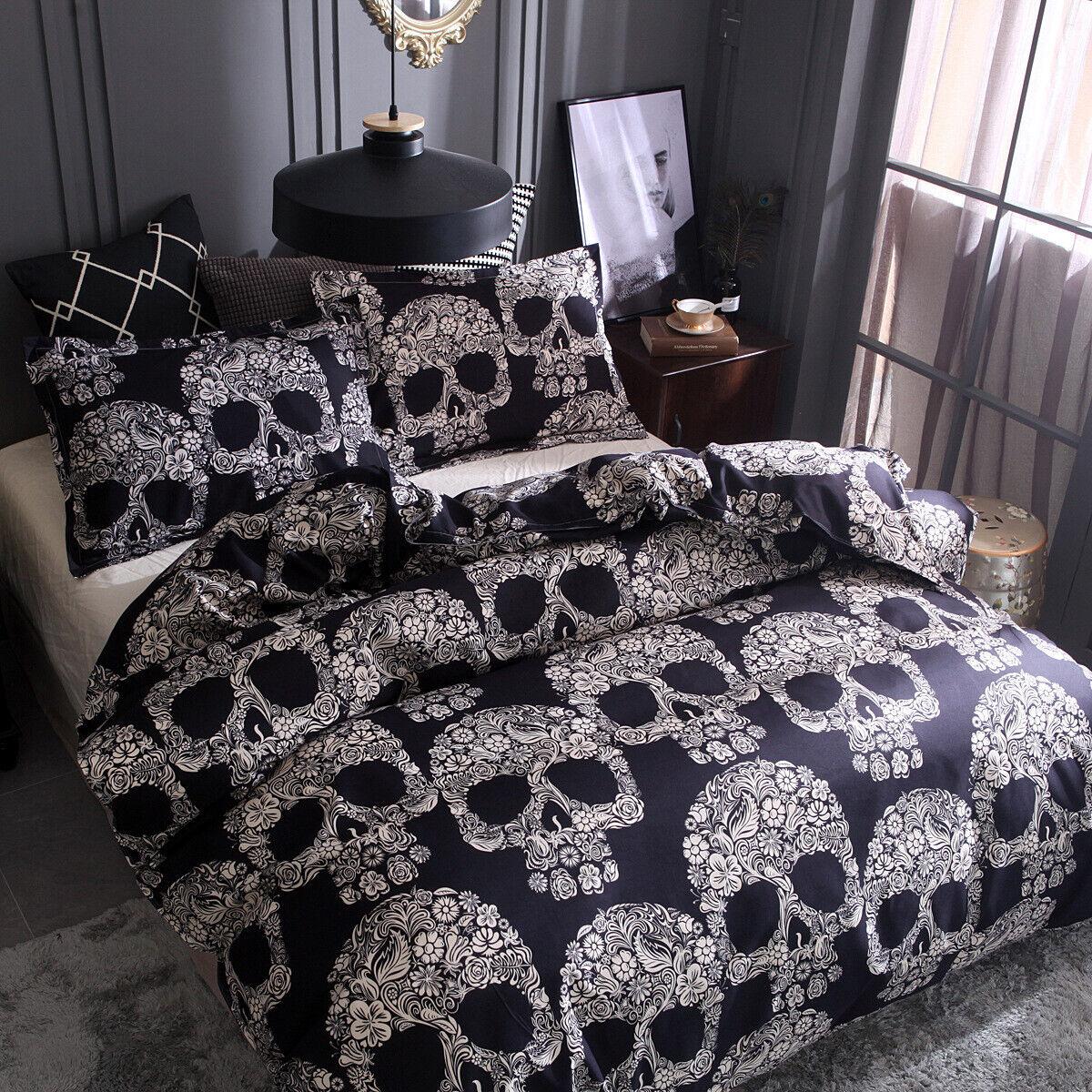 Floral Surgar Skull Duvet Quilt Cover Gothic Comforter Bedding Set Pillowcases