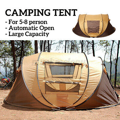 US 5-8 Person Camping Tent Automatic Pop Up Waterproof Hiking Outdoor Shelter